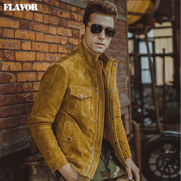 Men's pigskin yellow real leather jacket Genuine Leather jacket motorcycle coat denim jacket men