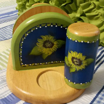Up-Cycled Hand Painted Sunflower Kitchen Set...Recipe Box, Bagel Cutter, and Napkin Holder with Salt and Pepper Shakers