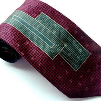 ITALIAN SILK Tie,Vintage Tie,Hand Made Tie,Burgundy Teal & Blue Tie,Italian Made,Vintage Necktie,Geometric Tie,Mens Ties,Vintage Accessories