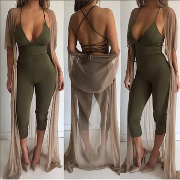 Rompers womens jumpsuit  new women summer spagetti strap sleeveless backless long bodycon jumpsuit Sexy Club Party Rompers
