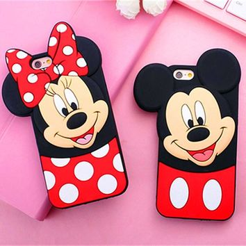 New 3D Cute Mickey Minnie Mouse Cartoon Soft Silicone Phone Case For iPhone 8Plus 7 7Plus 4 4S 5 5 5S 6 6S Plus Rubbe Back Cover
