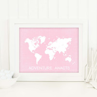 Pink Nursery Art, World Map Print, Adventure Poster, Travel Art Print, Adventure Awaits, Cotton Candy, Girly Office Decor, World Map Poster