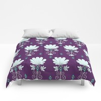 Fan Flower in Royal Purple Comforters by Sarah Oelerich