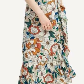 Summer new hot - selling floral print flounce dresses