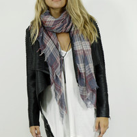 Coffee Run Red & Blue Faded Plaid Frayed Edge Scarf