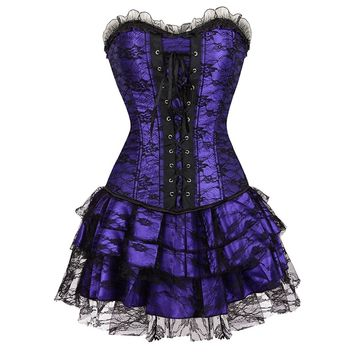 Gothic Lace Overbust Steampunk Corset Skirt 7074-3