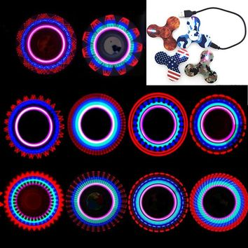 2017 Hand Spinner Glow in the Dark Fluorescent Fidget Spinner With Charger Luminous Light UP Shining Flash Plastic Spiner Toys