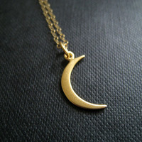 Small gold crescent moon necklace, moon charm necklace