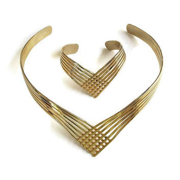 Modernist Collar Necklace and Bracelet Vintage Open Work