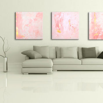 Triptych Painting Pink Gold White Original Abstract Painting on Canvas Wall Art Total size 96x32inch