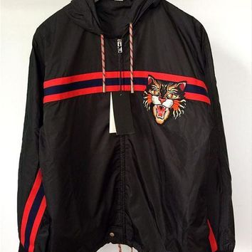 ESBONN GUCCI Women/Men Nylon windbreaker with Angry Cat applique