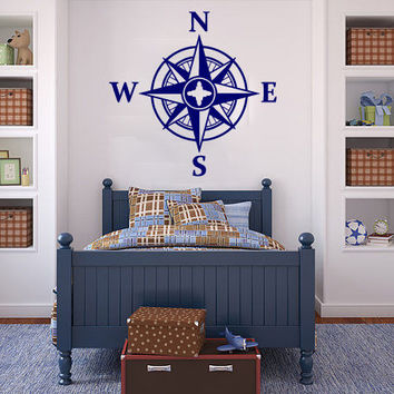 Compass Rose Wall Decal Art Vinyl Nautical Sticker Wall Decor Nursery Home SM178