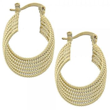 Gold Layered 5.147.035 Small Hoop, Twist Design, Polished Finish, Golden Tone
