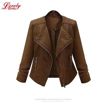 Woman Winter Coats And Jackets 2016 New Arrival Euro Style Casual Snake Skin Zipper Rider Leather Jacket 5XL Bomber Jacket