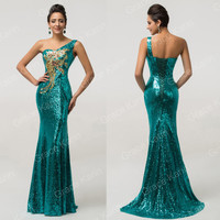 Mermaid Sequins One Shoulder Formal Evening Long Party Prom Bridesmaid Dresses