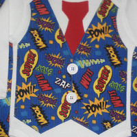 Superhero baby Onesuit with tie and vest. Toddler Shirt. Sizes 3,6,9,12,18 and 24 Months. Toddler sizes 2T, 3T, 4T and 5/6T