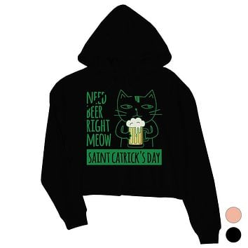 Beer Cat Patrick's Day Womens Crop Hoodie Pullover Cute Irish Theme