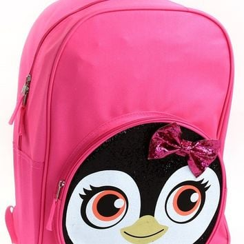 "Fall Back To School Penguin Glitter 17"" Backpack"