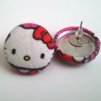 Hello kitty button earrings