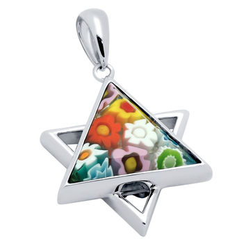 "Sterling Silver Multicolor Glass Murano Millefiori Glass Pendant Star Of David  (Free 18"" Chain)"