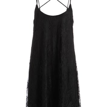 Pretty Attitude Womens Flowy Black Lace Dress