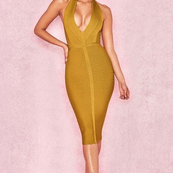 Clothing : Bandage Dresses : 'Verbena' Mustard Rib Bandage Halter Dress
