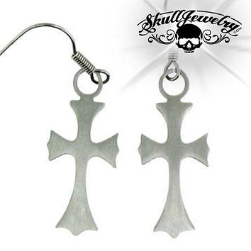 Stainless Steel Cross Earring (e037)