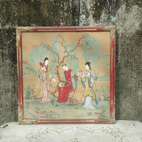 Vintage Japanese Silk Painting Two Geishas Original Frame Signed by Artist