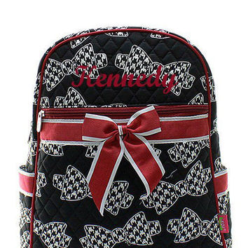 Bama Houndstooth Bow Tie Roll Tide Monogrammed Backpack  Monogram Quilted Backpack  Personalized Backpack