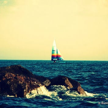 Peaceful Sailboat on Water 8x10 Photo Print by ItRunsInTheFamily