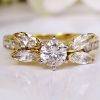 Stunning Vintage Engagement Ring 1.20ctw Round and Marquise Diamond Butterfly Ring 18KP Yellow Gold Diamond Wedding Ring Size 6.5