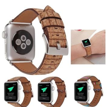Wood Styled Apple Watch Leather Band