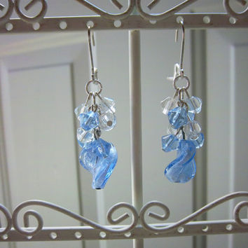Blue Lampwork and Crystal Glass Earrings