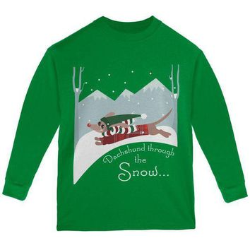 CREYCY8 Christmas Dachshund Dashing Through the Snow Youth Long Sleeve T Shirt
