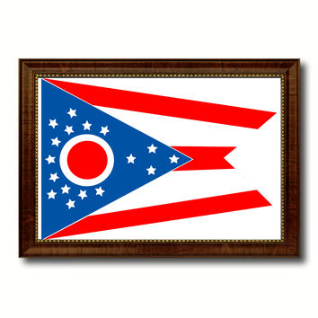 Ohio State Flag Canvas Print with Custom Brown Picture Frame Home Decor Wall Art Decoration Gifts