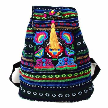 Tribal Vintage Hmong Thai Indian Ethnic Embroidery Bohemian rucksack Boho hippie ethnic bag backpack bag L size SYS-170E