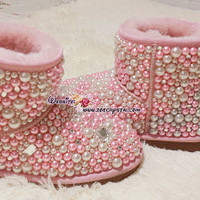 WINTER Bling and Sparkly Pink Pearl Short SheepSkin Wool BOOTS w shinning Czech or Swarovski crystals - ZoeCrystal