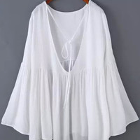White Angel Sleeve V-Cut Backless Top