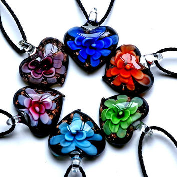 inner Gold dust heart lampwork murano glass pendants with necklaces cheap fashion jewelry for girl gift 2017 hot handmade flower