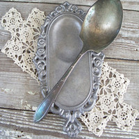 silver metal vintage spoon rest cottage by KatyBitsandPieces