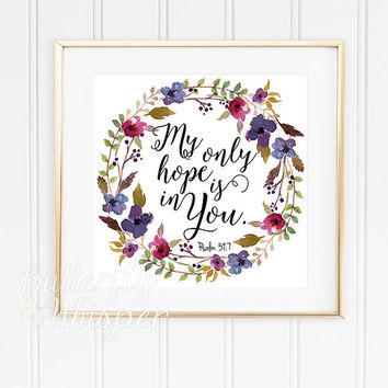 "Nursery Bible verse print decor, Scripture nursery, Square prints, Christian wall art, 12x12"", My only hope is in you, Framed quotes art"