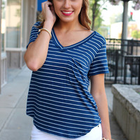 Kickin' It Pocket Tee - Navy