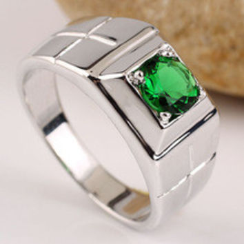 New Arrival Green Emerald Men Solid Sterling Silver Ring Half Size Extra Small & Large R508
