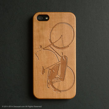 Real wood engraved bicycle pattern iPhone case S036