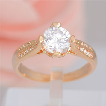 Free shipping Womens Jewelry gold Plated Pretty CZ Cubic Zirconia Shiny Wedding Ring Size 7/8/9