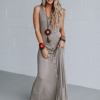 Audrina Washed Button Down Maxi Dress - Mocha
