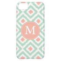 Monogrammed Mint Coral Diamond Ikat Pattern Case For iPhone 5C