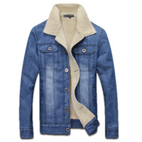 Denim Jacket with Wool Interior