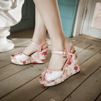 Fashion Printed Wedges Sandals Pumps Platform High Heels Women Shoes 7240