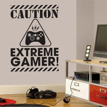 Gamer Wall Decal Sticker - Video Gamer Birthday Gift Vinyl Wall Sticker For Kids Room Boys Bedroom Decor